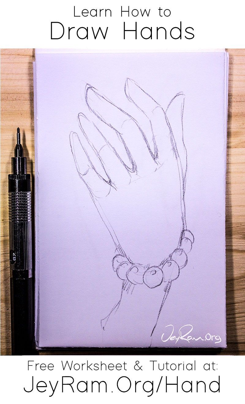 How To Draw Hands Free Worksheet Step By Step Tutorial In 2020 How To Draw Hands Eye Drawing Tutorials Drawings