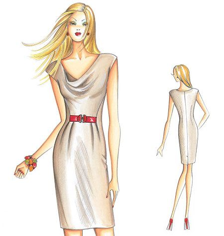 F3067, Marfy Dress | Modezeichnungen - Fashion sketches | Pinterest ...