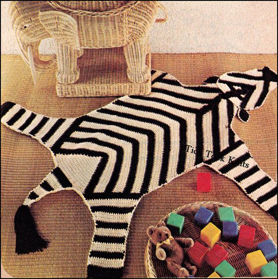 No.391 Wild Animal Rugs Crochet Pattern PDF Vintage
