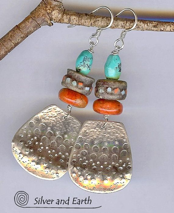 Sterling Silver Tribal Earrings with Turquoise by SilverandEarth