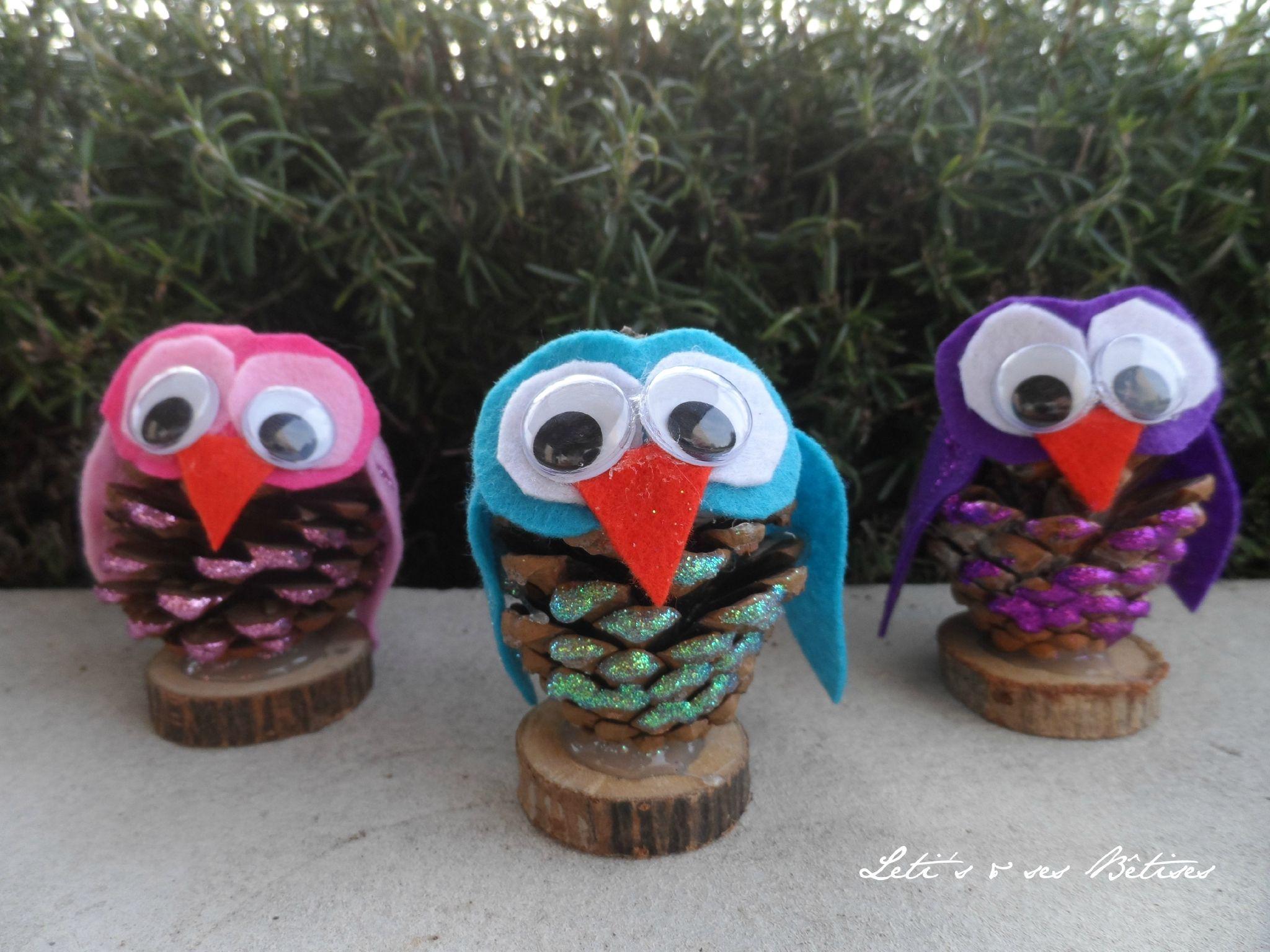 pinecone owl - leti's & ses betises   cocotte glands noisette