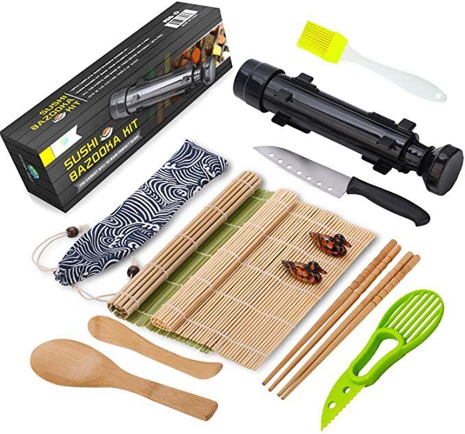 Sushi Making Kit – All In One Sushi Bazooka Maker with Bamboo Mats, Bamboo Chopsticks, Avocado Slicer, Paddle,Spreader,Sushi Knife, Chopsticks Holder, Cotton Bag – DIY Sushi Roller Machine – Black