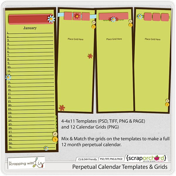 Perpetual Calendar Templates & Grids By Scrapping With Liz