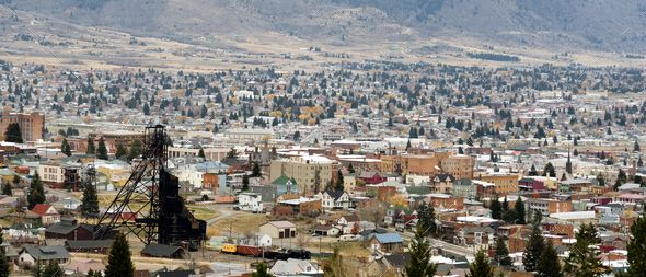 High Angle Overlook Butte Montana Downtown USA United States by Christopher_Boswell. Downtown Butte Montana with winter setting in #AD #Butte, #Montana, #Downtown, #High