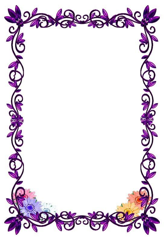 Floral And Purple Paper Flower Printable Borders For Paper Page Borders Design