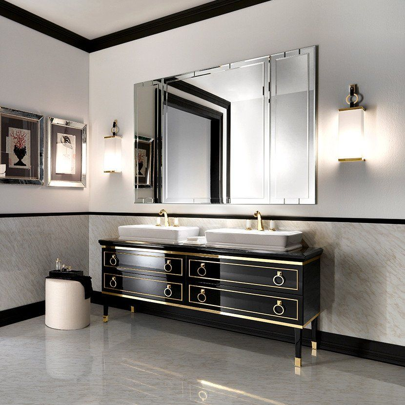 Clic Luxury Bathroom Vanity Cabinets Features Gray Ceramic Floor And Stained Wall Plus Black Gold Varnished Wooden Together With