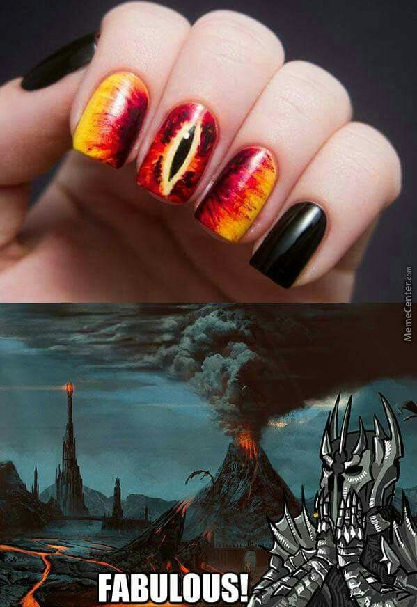Eye of sauron nail art fun nerd LOTR | Nail design | Pinterest ...