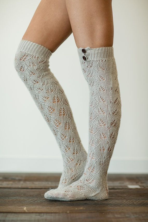 Knitting Pattern For Over The Knee Socks : Knitted Boot Socks, Lacy Knit Socks, Boot Toppers, Over ...