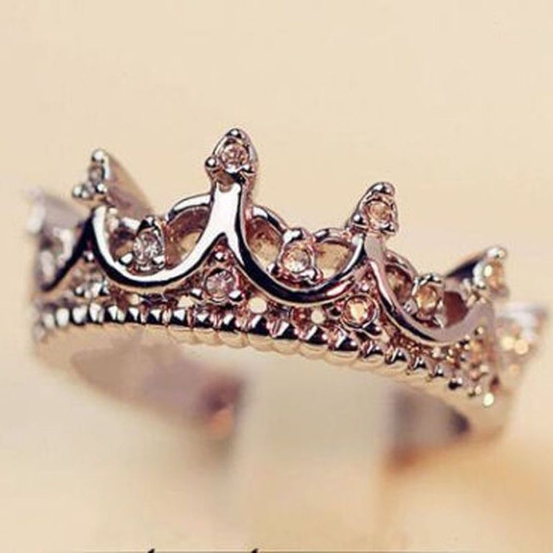Fashion Princess Women Silver Rhinestone Crown Ring Size 5 6 7 8 ...