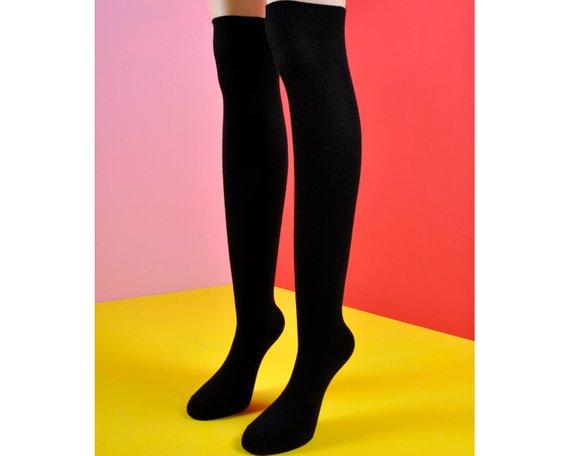 709e5a8ccc262 Black Thigh High Women Socks   Old School Socks   Holiday Gifts   Christmas  Gifts   Gifts   Thigh Hi
