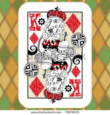 Hand Drawn Deck Of Cards Doodle King Of Diamonds Stock Vector