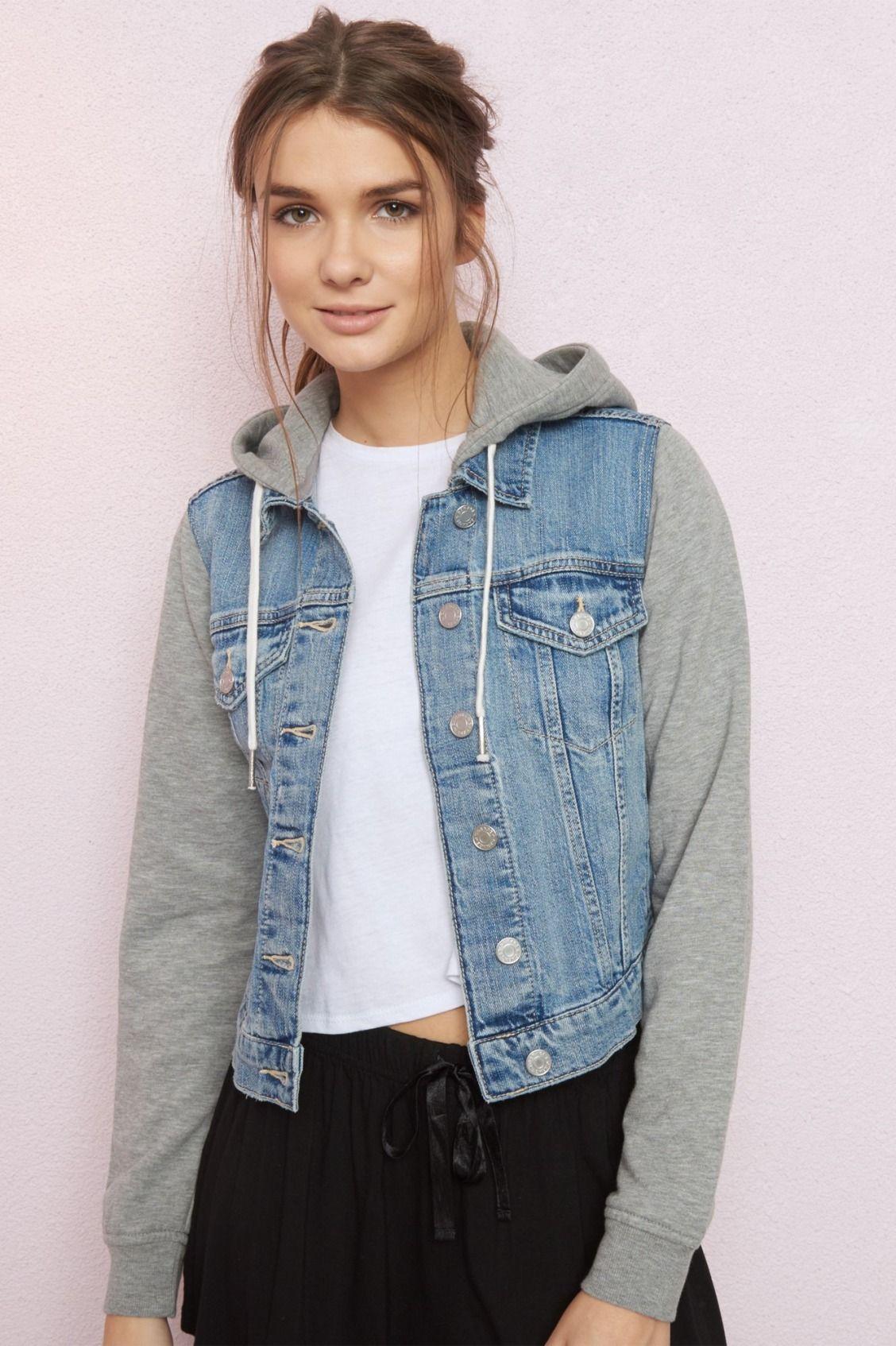 Classic Fleece Combo Denim Garage Clothing Denim Fashion Women Denim Jacket Women [ 1694 x 1128 Pixel ]