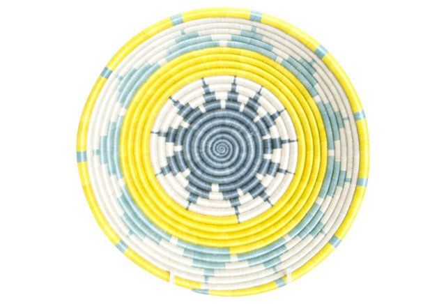 """Large Hope Basket, Yellow, All Across Africa, 12""""dia x 4""""h, sisal/sweet grass, $68"""