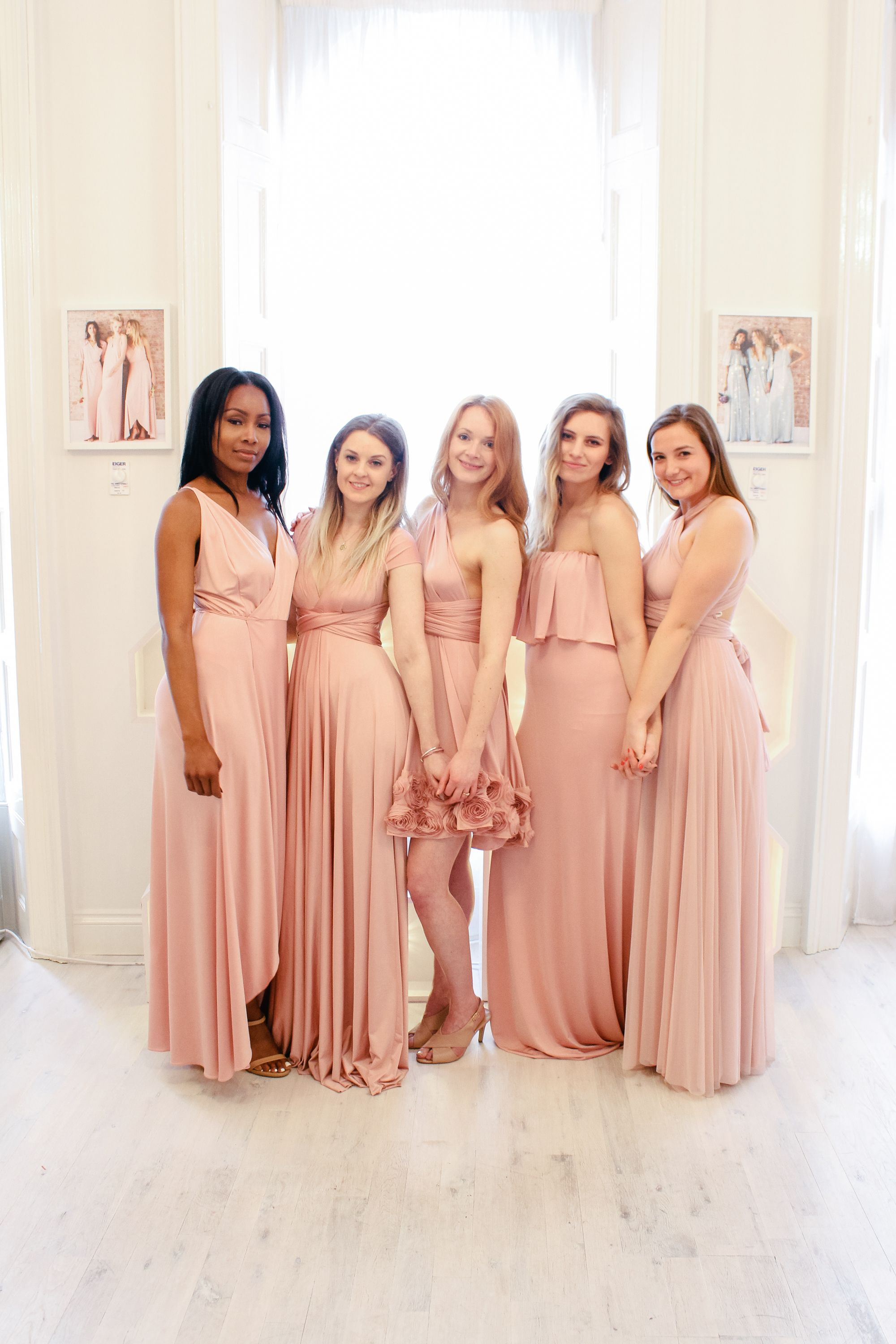fc07239111a0 Mix & match blush pink bridesmaid dresses by twobirds Bridesmaid | Lots of  different style dresses in the same colour