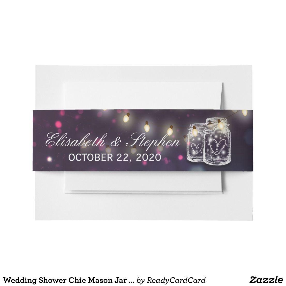 Wedding Shower Chic Mason Jar Purple String Lights Invitation Belly ...