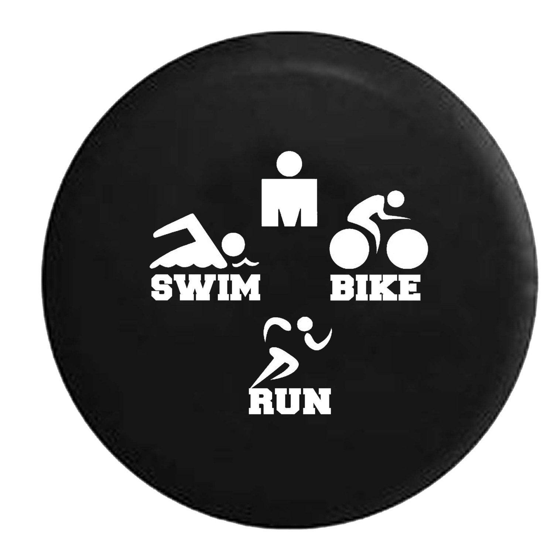 Tri Triathlon Swim Bike Run Jeep Camper Spare Tire Cover White