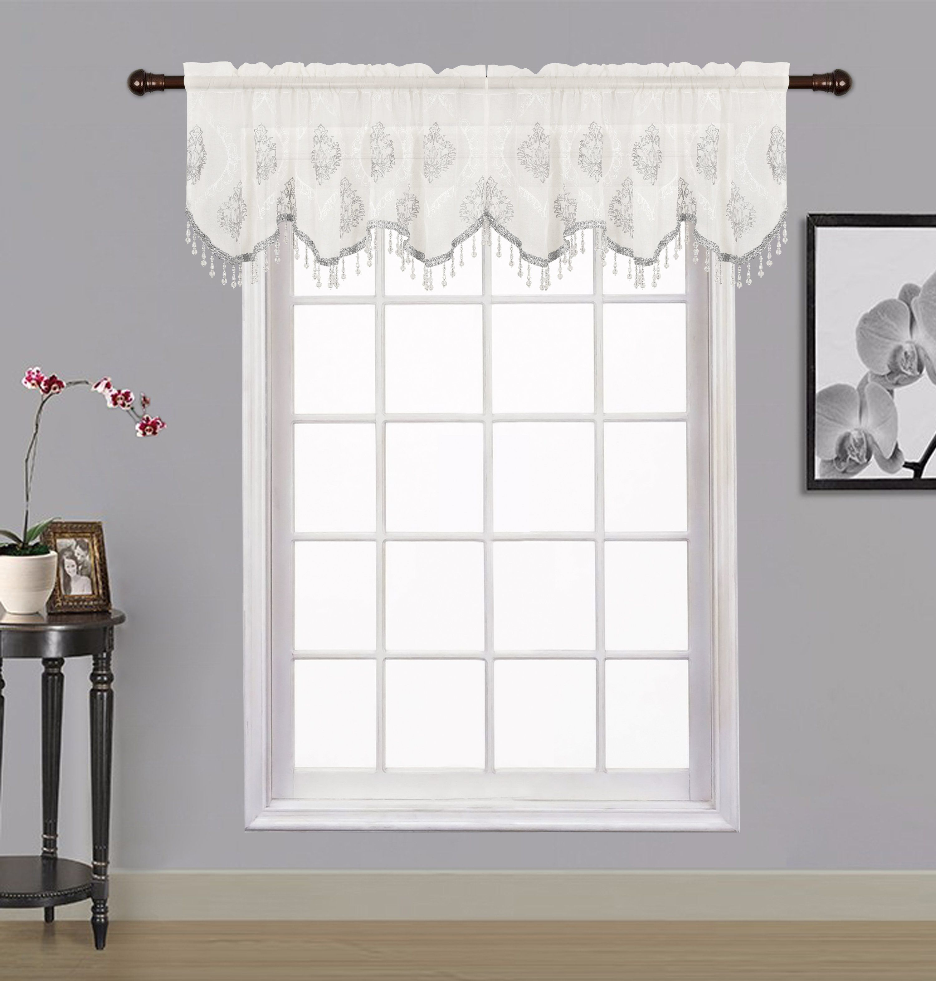 Zoey Sheer Embroidered Valance Marburn Curtains Curtains