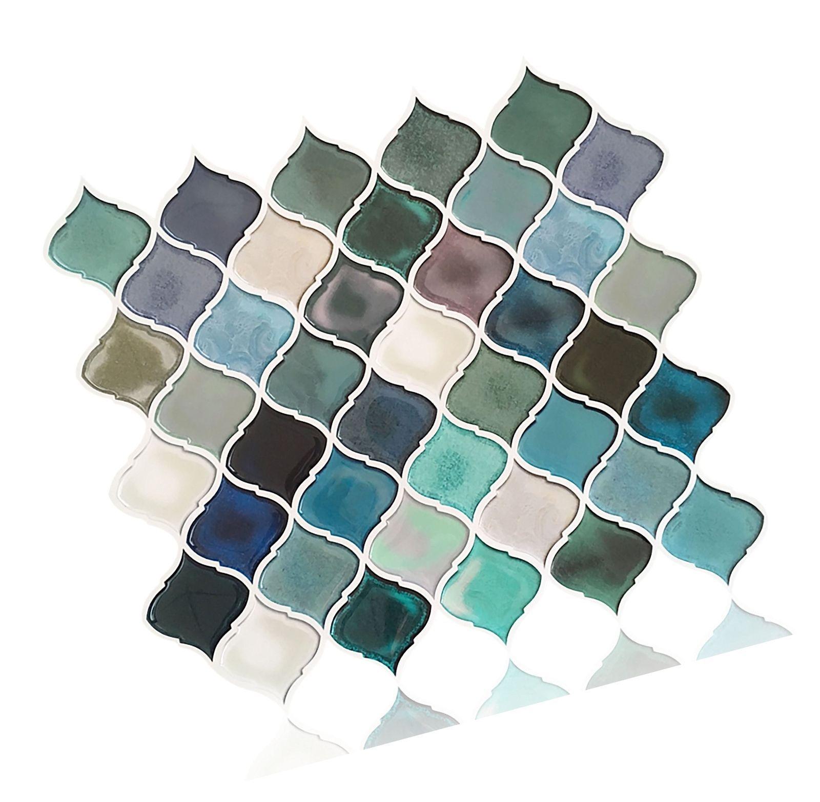 - Peel And Stick Tile Backsplash For Kitchen Bathroom,Teal Arabesque