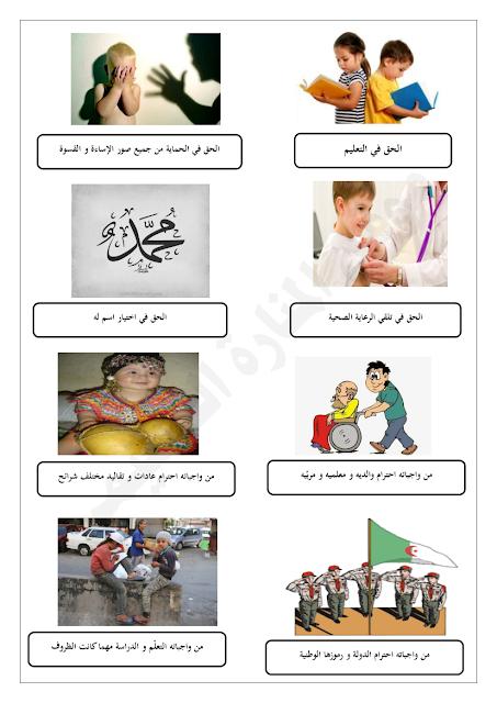 مشروع حقوق الطفل و واجباته للسنة الرابعة ابتدائي Books Education Kids