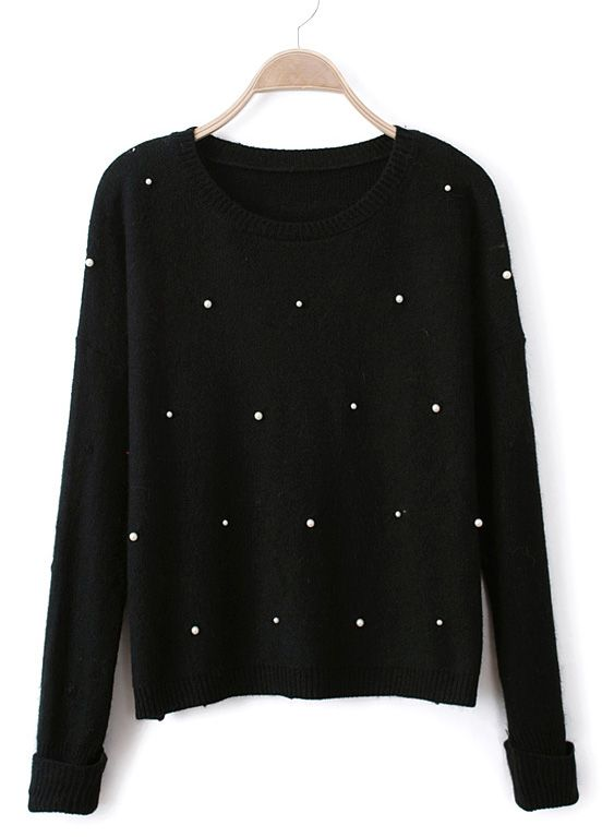 c59e9d431f5d1 Black Long Sleeve Pearls Knit Pullover Sweater