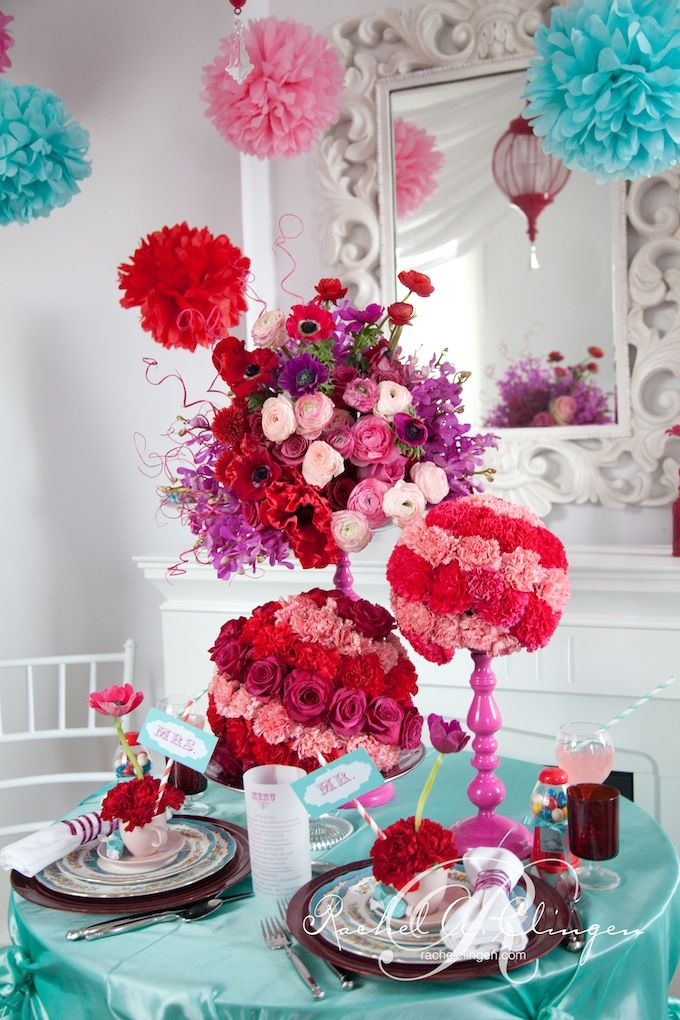 Candy Themed Flowers Create This Cute Table For Two Photo Credit