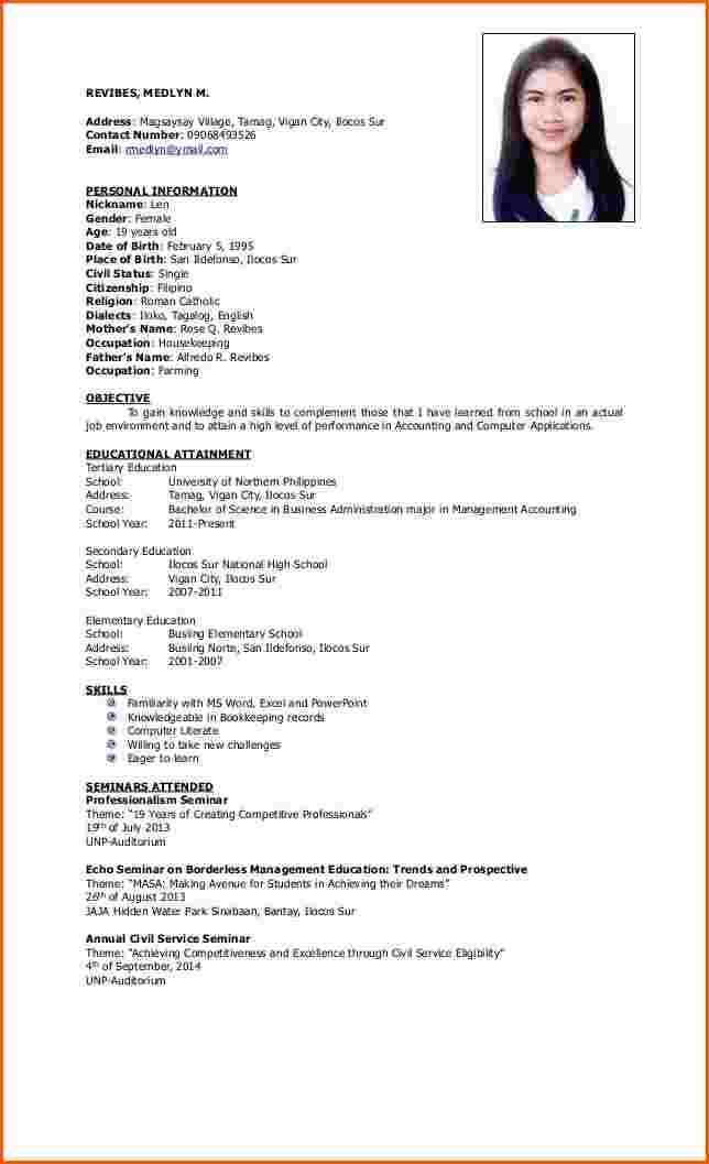 Resume Format For Ojt Tourism Students Sample Doc Engineering