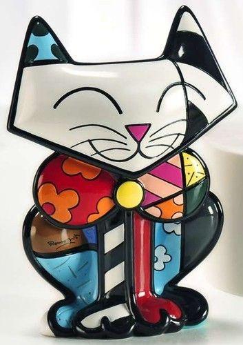Escultura Romero Britto - numerada Gato Sam!   Romero britto ...