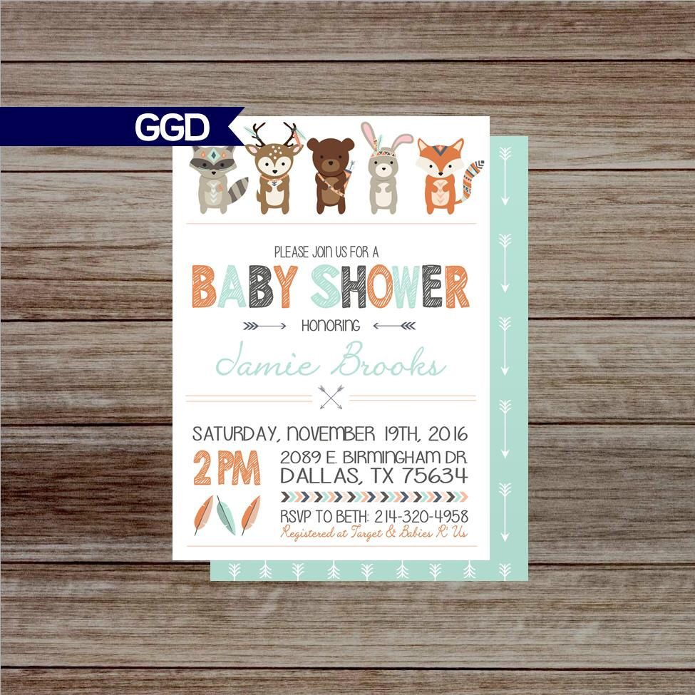 Woodland Baby Shower Invitation, woodland baby shower, animal baby shower, tribal baby shower, boho chic baby shower-Printed or Digital File by GoldenGirlDesignz on Etsy https://www.etsy.com/ca/listing/474572384/woodland-baby-shower-invitation-woodland