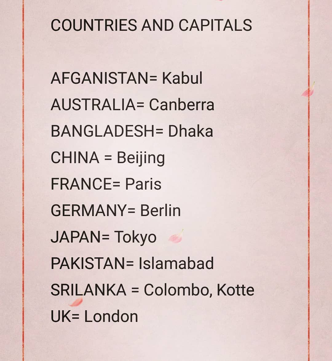 Some Important Countries And Their Capitals