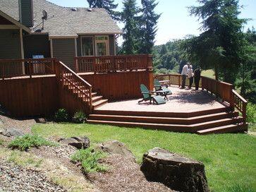 Multi Level Deck Design Pictures Remodel Decor And Ideas Sloped Backyard Decks Backyard Outdoor Remodel