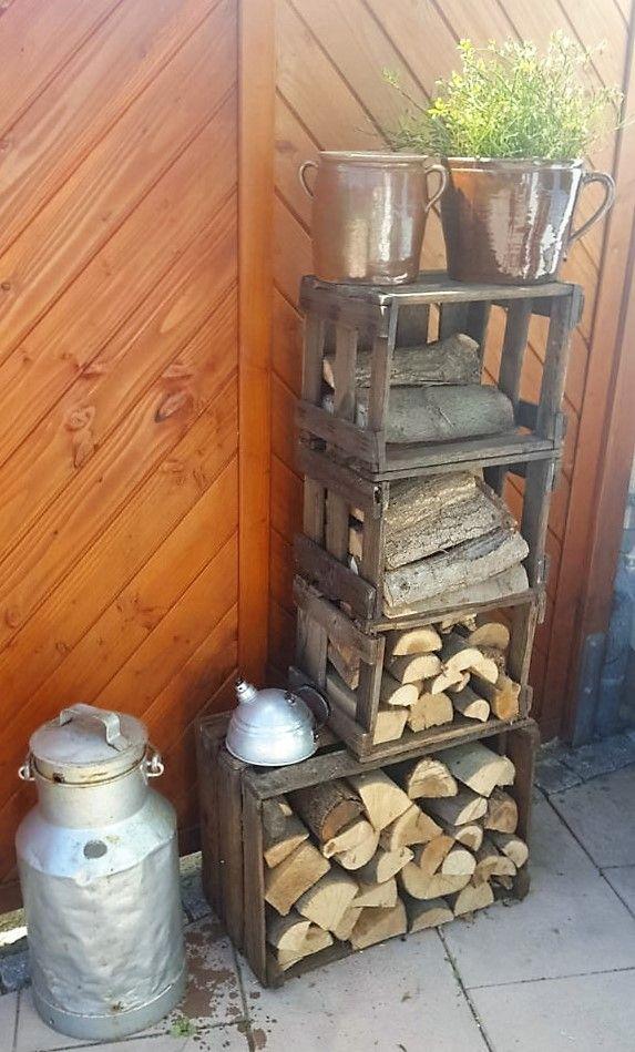 Kaminholzaufbewahrung und Gartendeko aus alten Obstkisten Recipe - gartendekoration aus altem holz