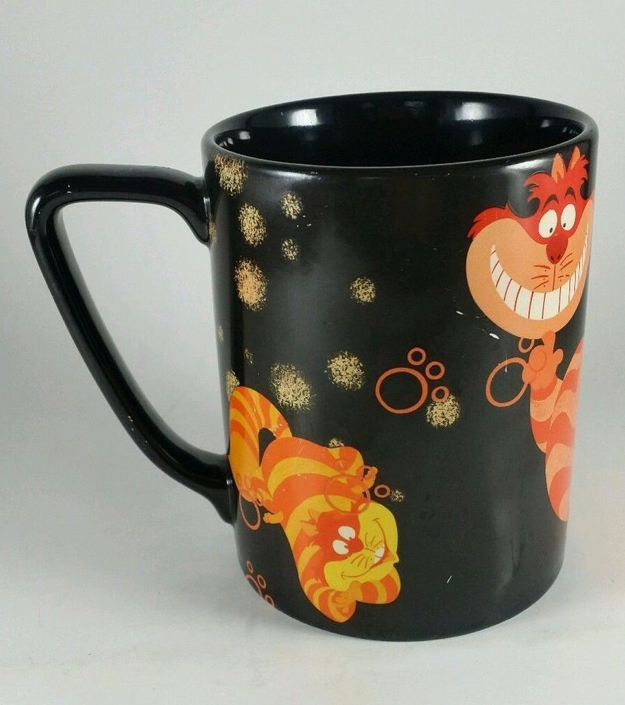 Cheshire Cat Coffee Mug Disney Store Black Orange Purple Alice ...