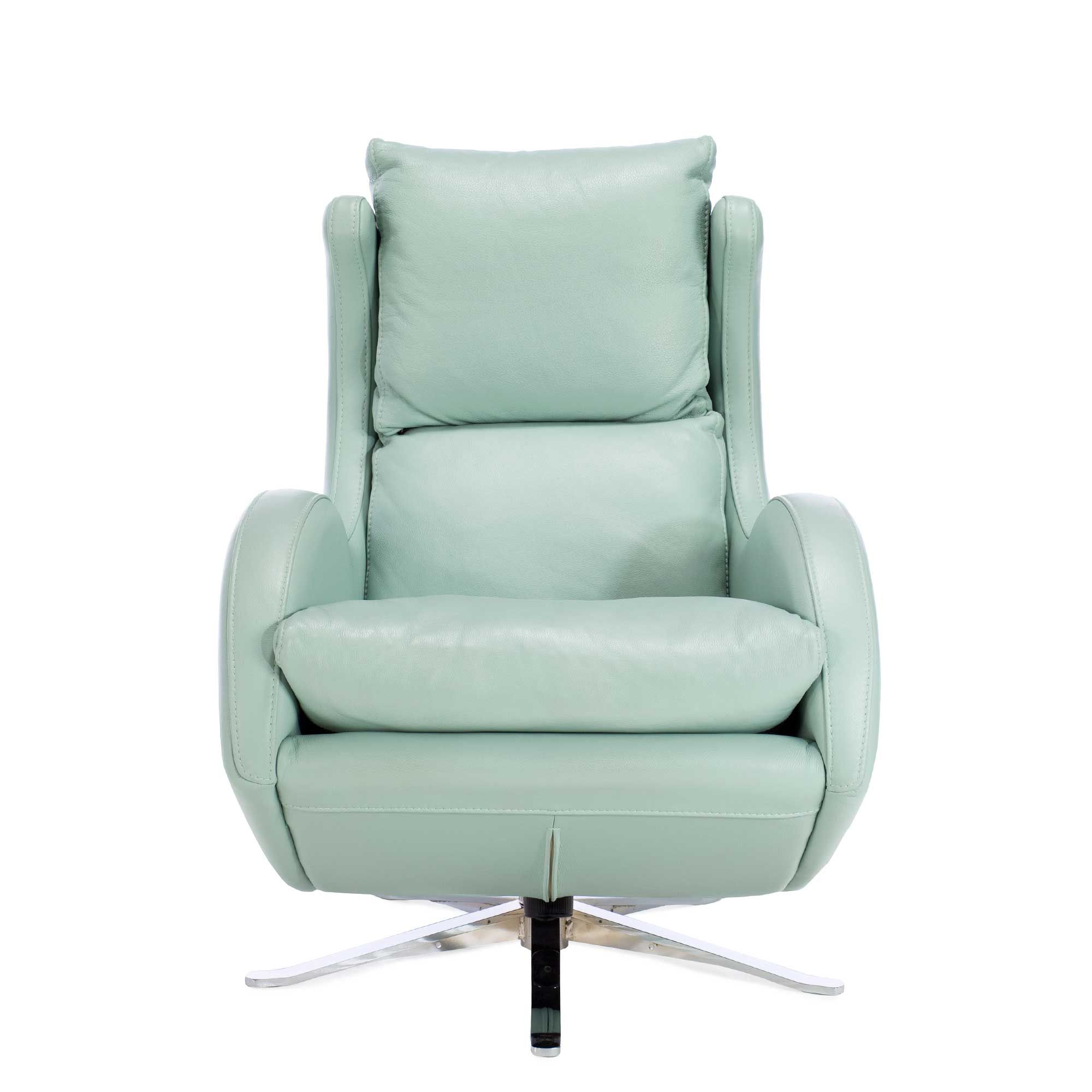 Fama lenny leather swivel reclining armchair pastel green recliners living room