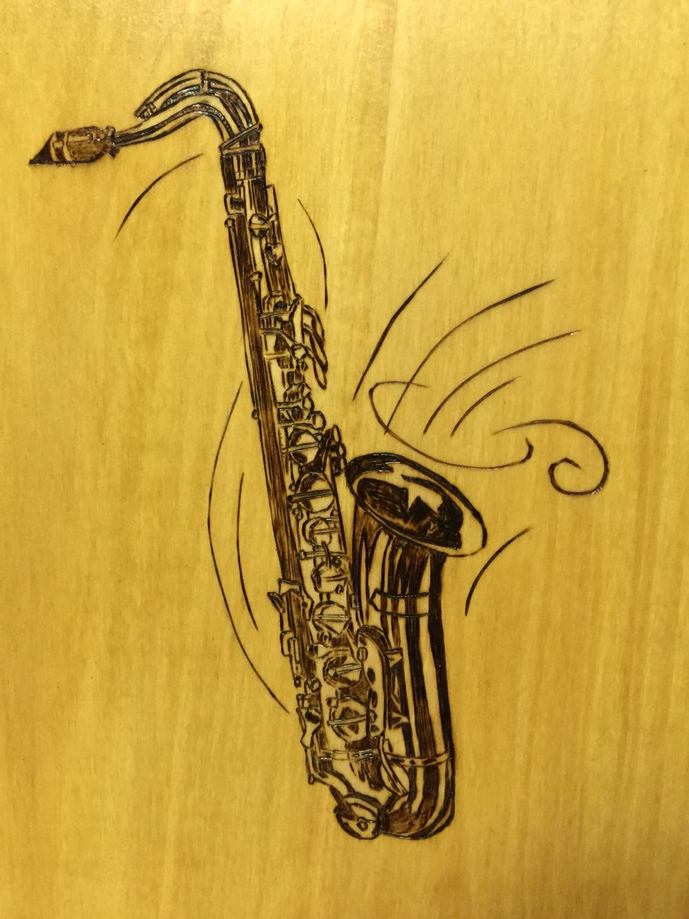 """Alto Saxophone"" Pyrography -Wood Burning by Alice Holcomb"