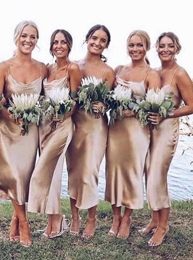 Lange Spaghetti-Trägern Champagner Strand Brautjungfer Kleid