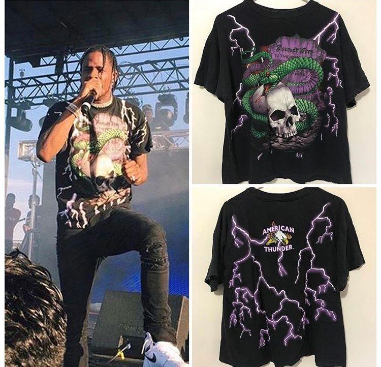 bdb8a13944190 Travis Scott La Flame in Vintage American Thunder Snake T-Shirt ...