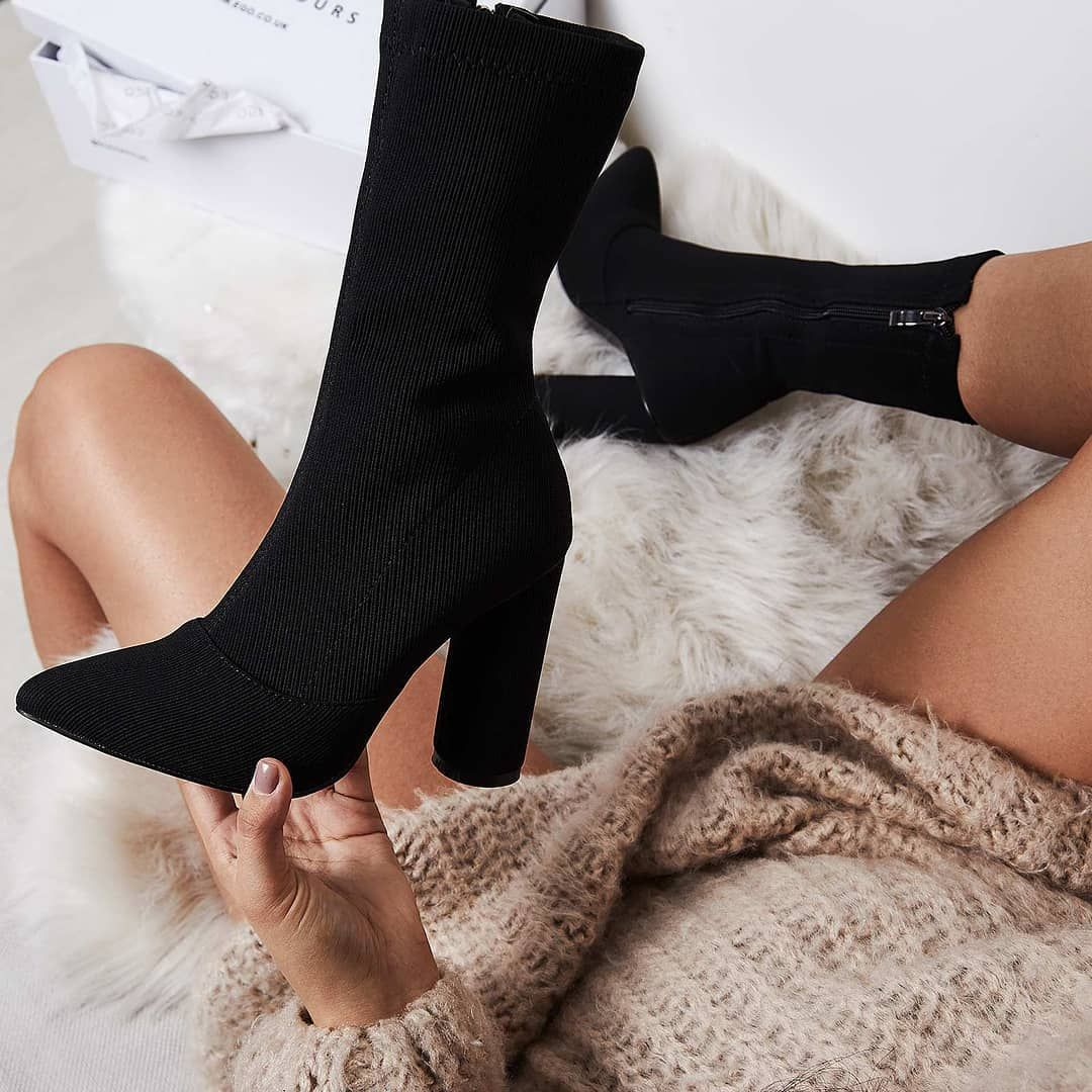 08193dc433c8 Rose Ribbed Block Heel Sock Boot In Black Knit