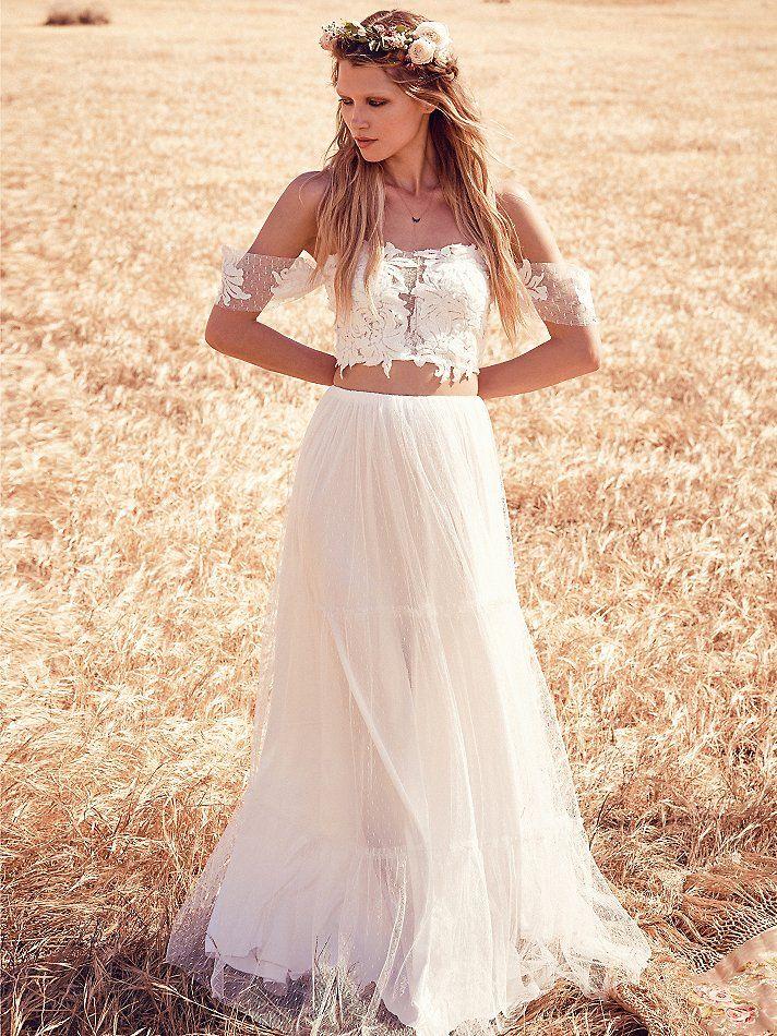 25 Beautiful Boho Chic Wedding Dresses  Weddings  Two piece wedding dress Lace weddings Chic