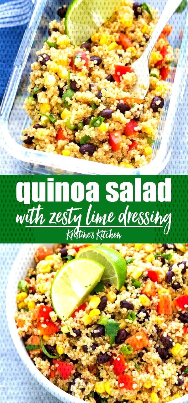 Southwest quinoa salad with black beans and zesty lime dressing. This healthy cold quinoa salad is