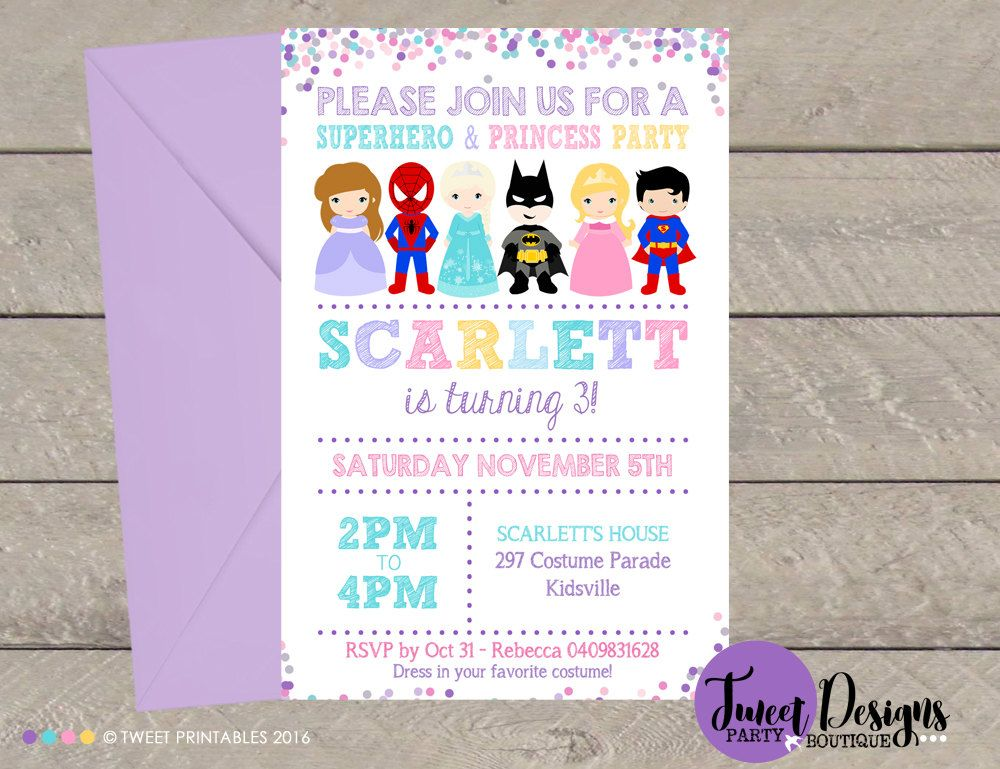 PRINCESS and SUPERHERO Invitation Princess by TweetPartyBoutique ...
