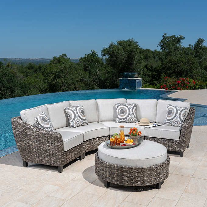 Best Vigo 5 Piece Woven Sectional Curved Patio Club Chairs 640 x 480