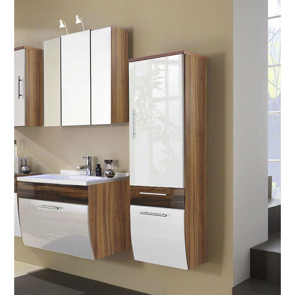 Bad Badezimmer Set Waschtisch Hochschrank Spiegelschrank Walnuss Hochglanz Weiss In 2020 Spiegelschrank Badezimmer Set Hochschrank