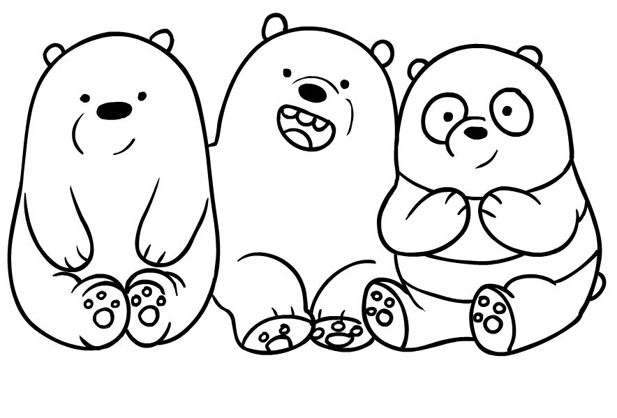 Drawing dei We Bare Bears coloring page in 2020 | Bear ...