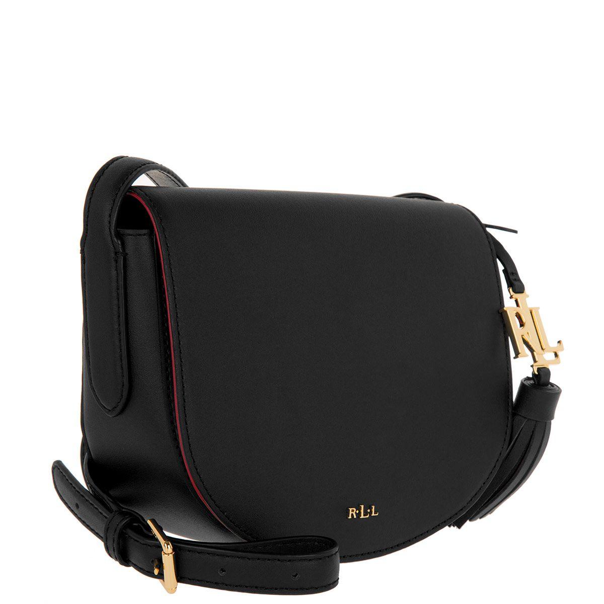 Handtasche Lauren Ralph Lauren Caley Mini Saddle Bag Black Crimson Mini Saddle Bags Bags Saddle Bags