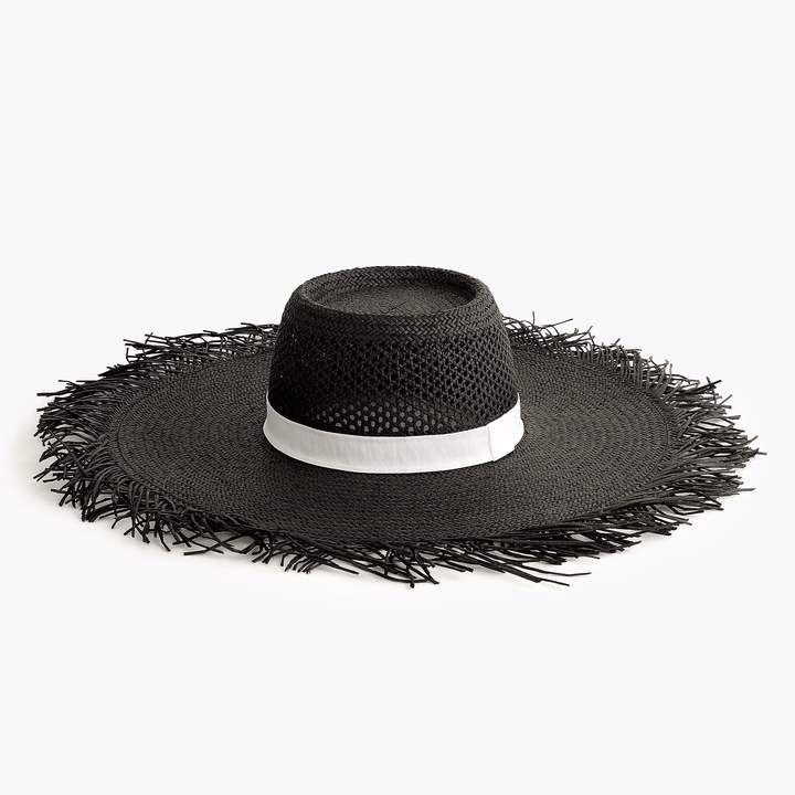 db5b054e225 J.Crew Wide brim straw hat with fringe