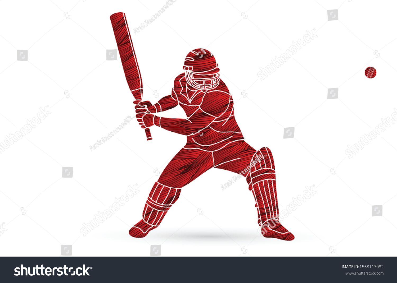 Cricket Batsman Sport Player Action Cartoon Graphic Vector Ad Spon Sport Player Cricket Batsman Sport Player Cartoon Sports