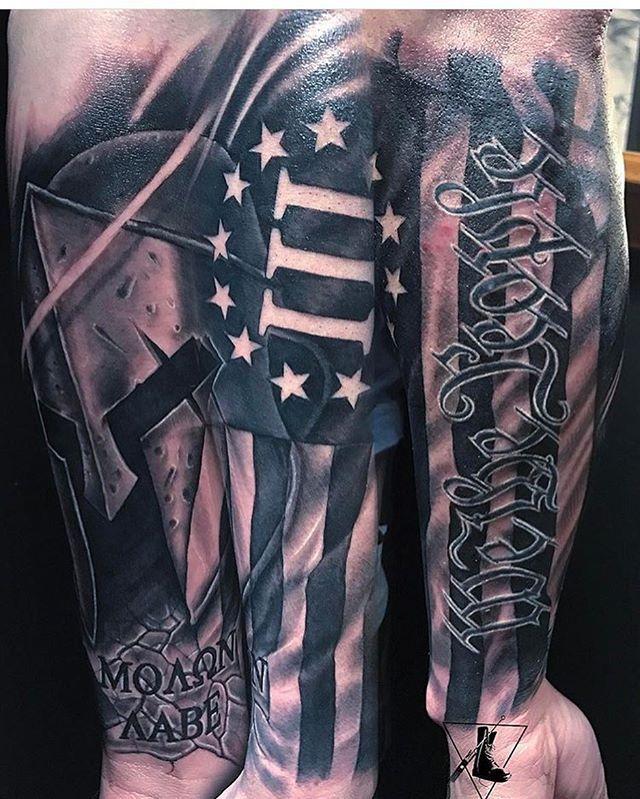 873111e6c patriot_ink #patriotink #patriot_ink Molon Labe Tattoo, Flag Tattoos,  Future Tattoos, Caves