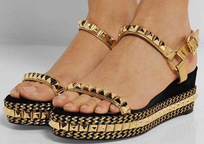 8e398091d0d846 Christian Louboutin Cataclou 60 embellished suede and leather wedge sandals  model