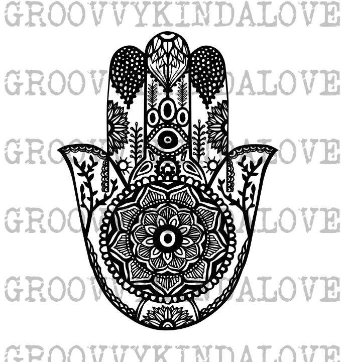 Hamsa Mandala Design Instant Download for Electronic Cutters