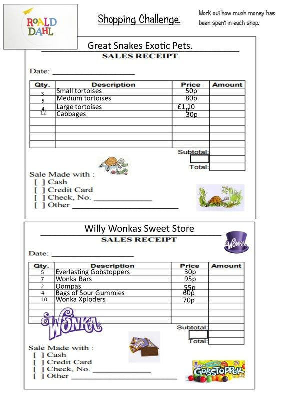 Picture Charlie and the Chocolate Factory Pinterest Math - cash sales slip